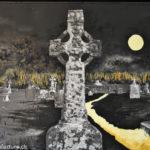 Friedhof von Clonemacnoise, Oelbild auf Fotoleinwand, Christoph Thür